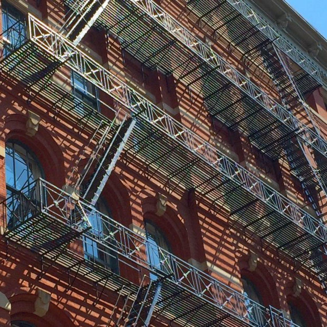 Soho New York fire escape shadows