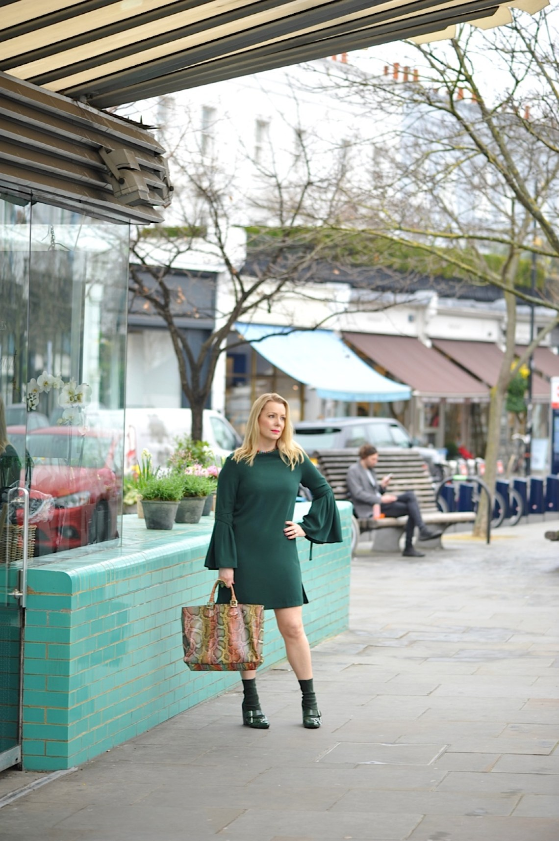 Green Finery bell sleeved dress