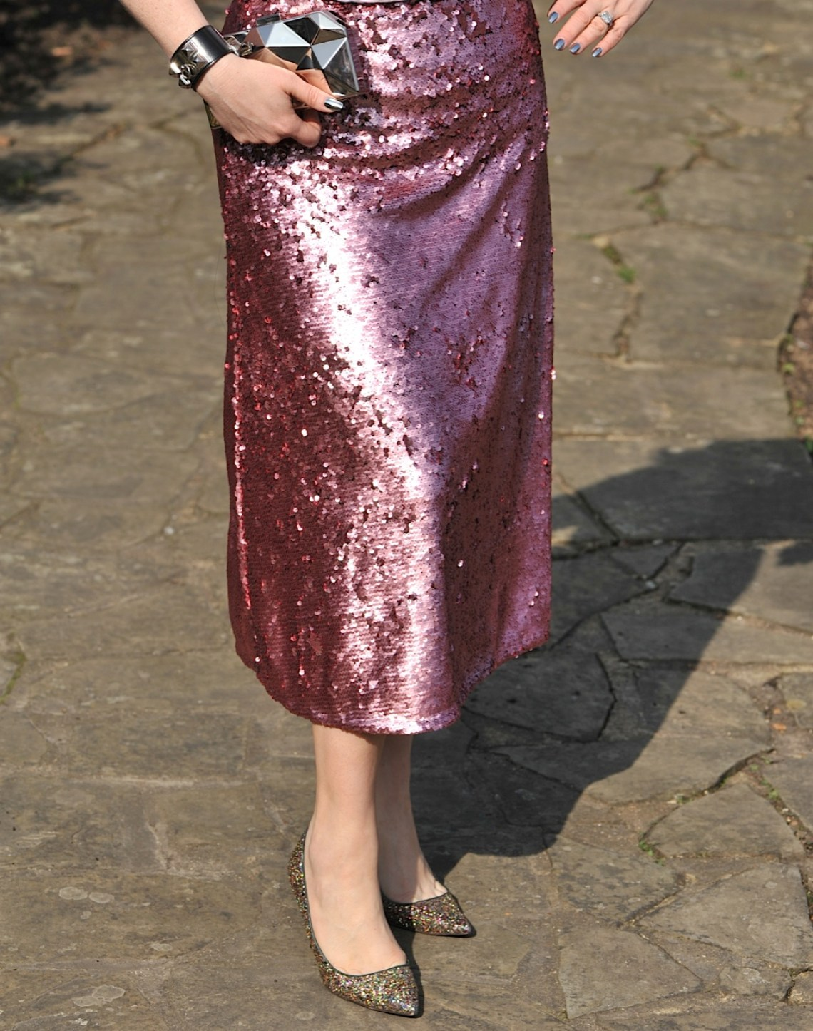 pink sequin midi skirt
