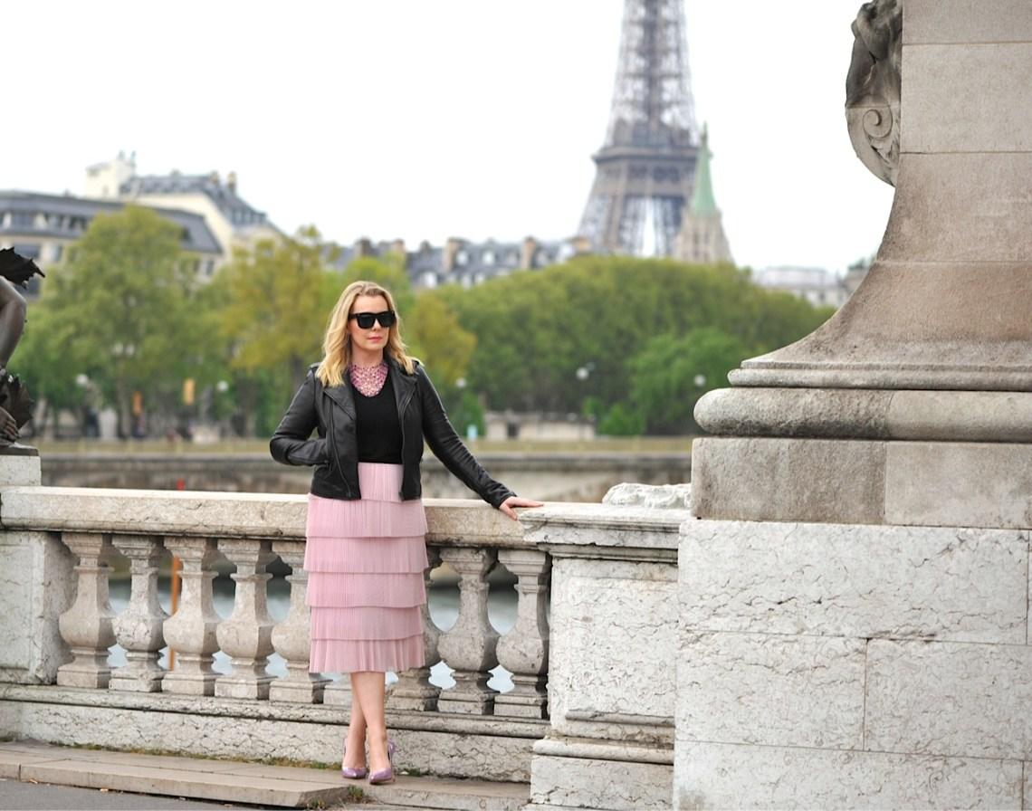 Pink Tiered HM skirt Paris