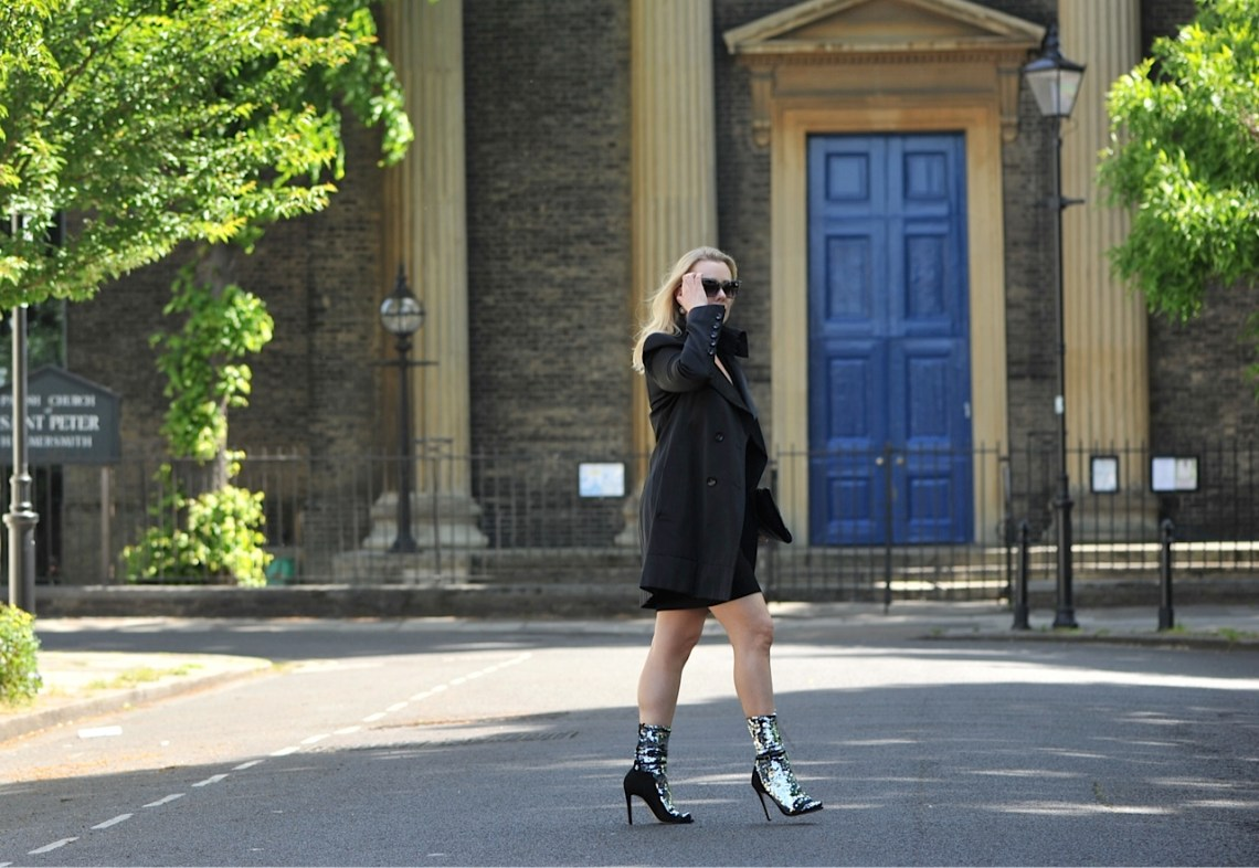 The Sequinist: Off-White Silver Sequin Socks and black trench coat