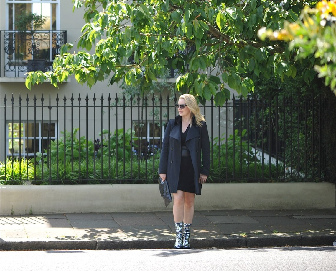 Silver Sequin socks and trench