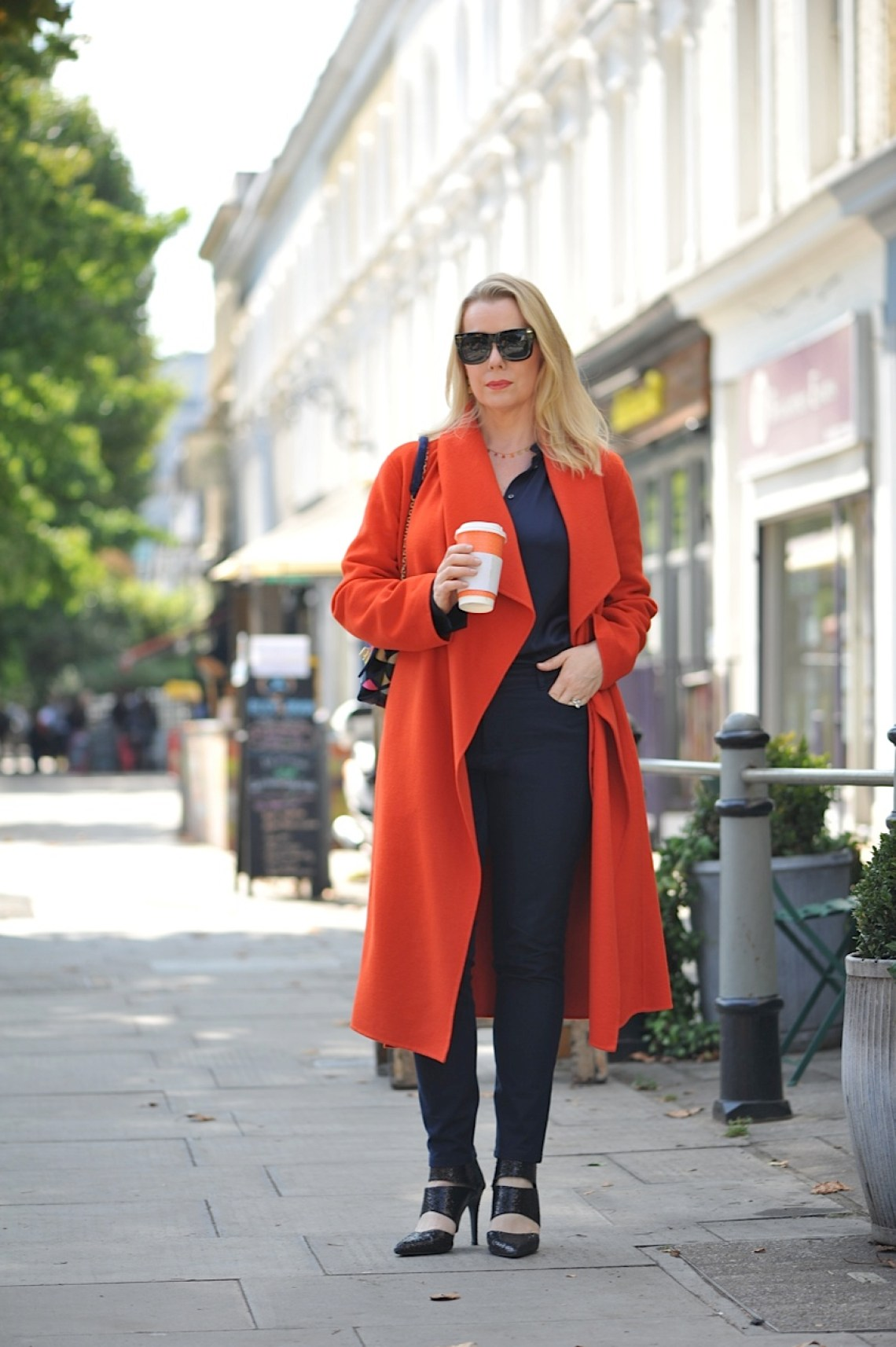 Navy silk and orange Hobbs coat