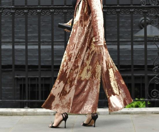 Sequin coat moving