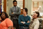 """PARKS AND RECREATION -- """"Jerry's Scrapbook"""" Episode 521 -- Pictured: (l-r) Retta as Donna Meagle, Aziz Ansari as Tom Haverford, Aubrey Plaza as April Ludgate, Chris Pratt as Andy -- (Photo by: Tyler Golden/NBC)"""