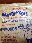 Kermond's Hamburgers Bag