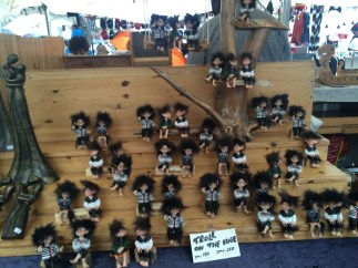 Norwegian trolls on display at a market in Bergen