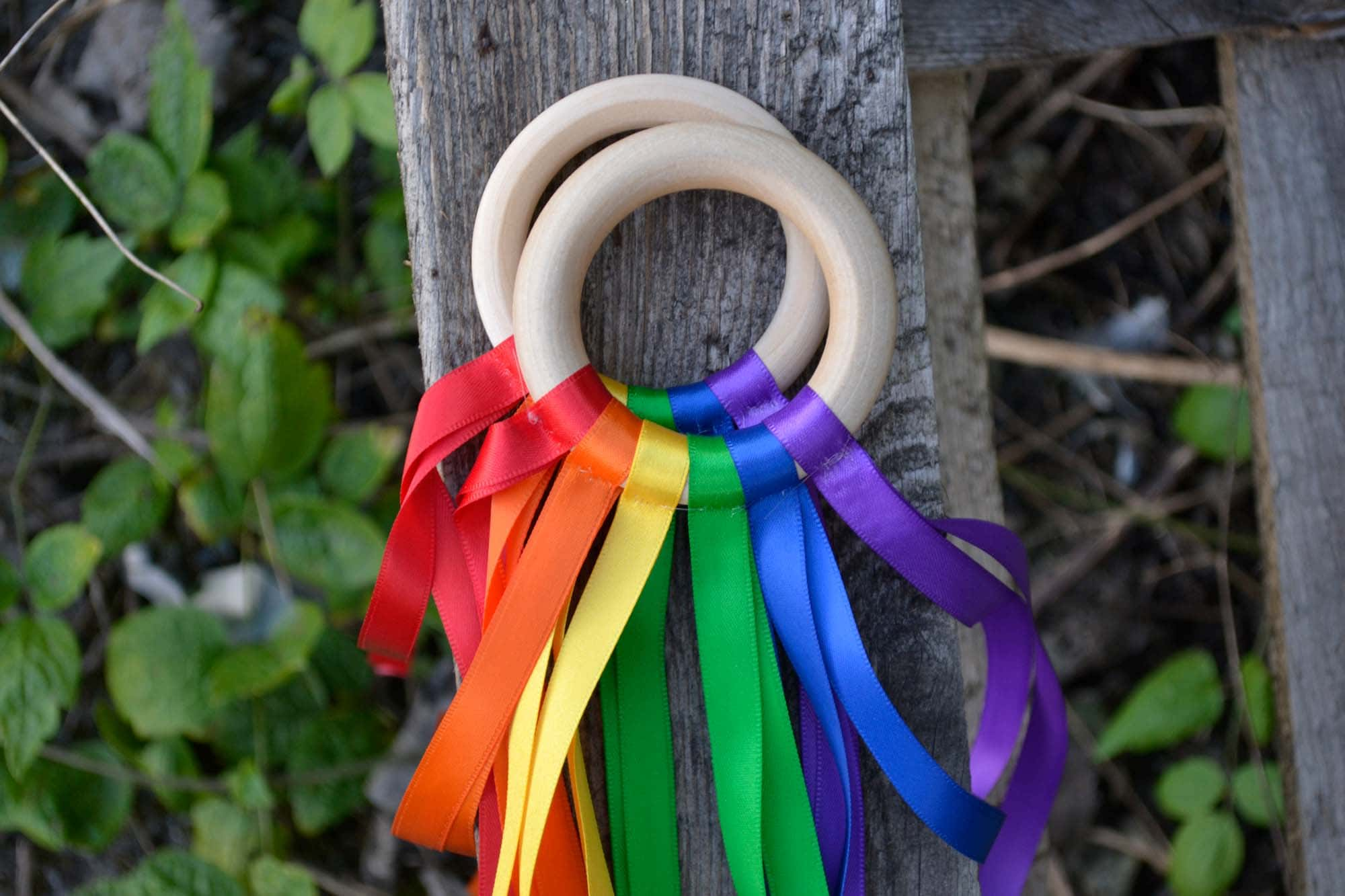 1 Baby And Toddler Sensory Rainbow Ribbon Teething Link.