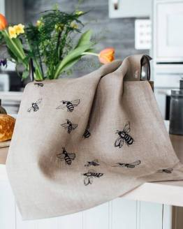 Linen Honey Bee Print Tea Towel