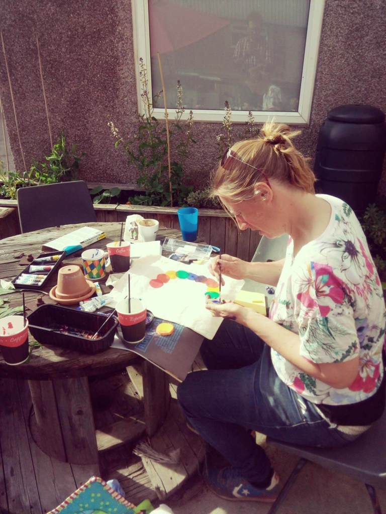 Naomi Evans making crafts