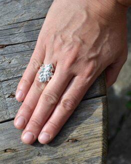 Oak Leaf Ring Silver Hand