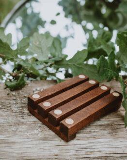 dark wood soap dish empty