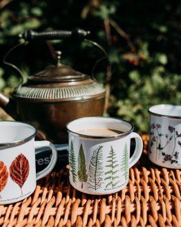 botanical illustration enamel mugs group shot