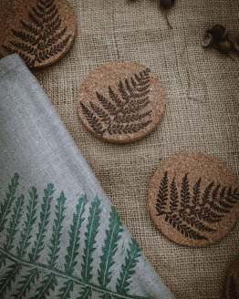 fern cork coasters