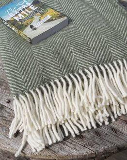 fishbone olive wool throw