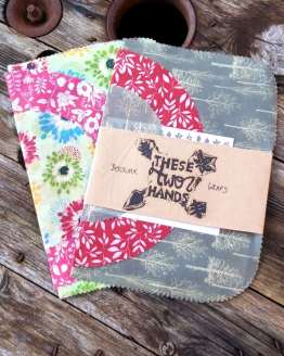 new beeswax wraps with festive ones