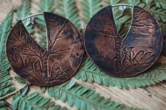 fern leaf large circle earrings
