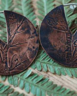 fern leaf large circle earrings