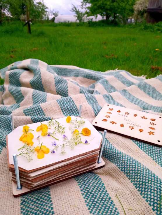 picnic rug and flower press
