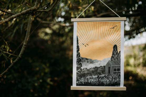 ruth thorp home print hanging in a tree