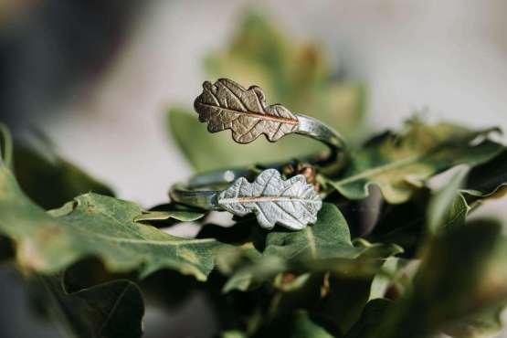 silver yellow bronze oak leaf ring
