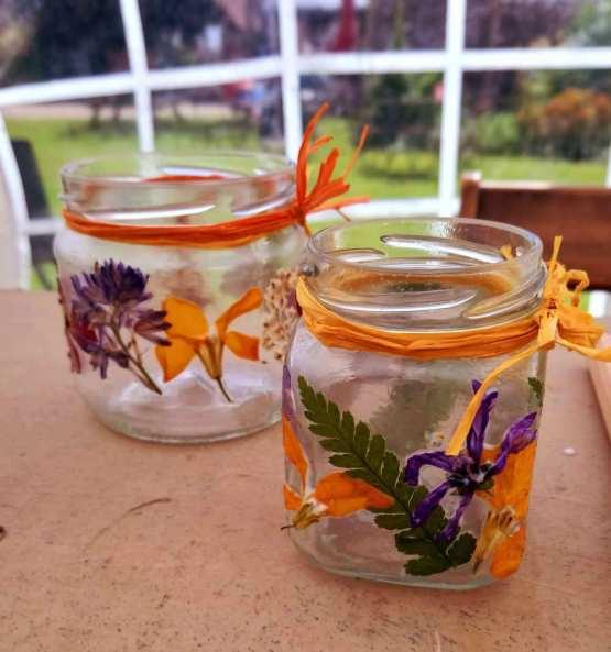 pressed flower tealight holders