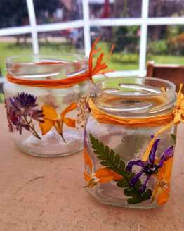 pressed flower tealight holders