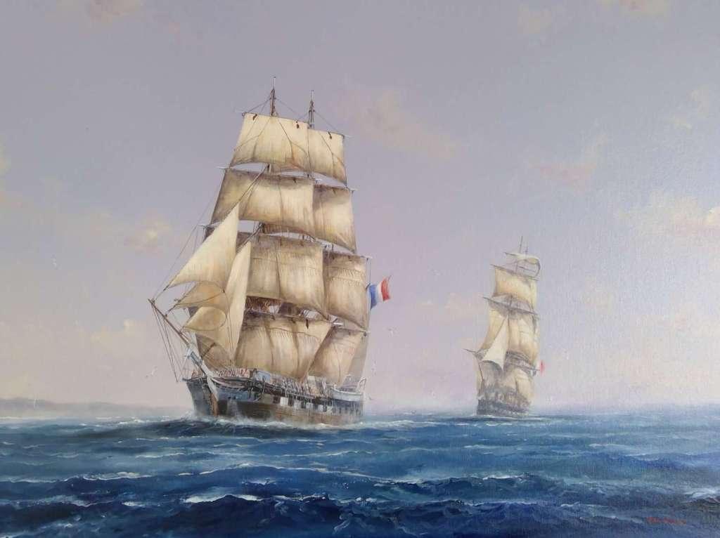 Painting of the Nanto Bordelaise Company French Settler ship Comte de Paris named after the Count de Paris & the Aube by artist Paul Deacon