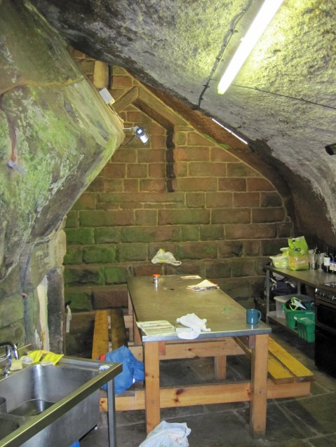 The kitchen of the Don Whillans' Memorial Hut, built among the rocks.