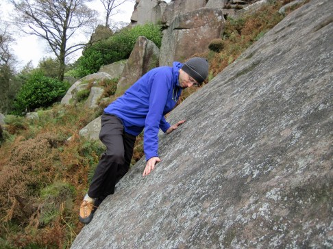 Me climbing the tricky start of the Sail Slab (actually, it's only the start that is remotely tricky).