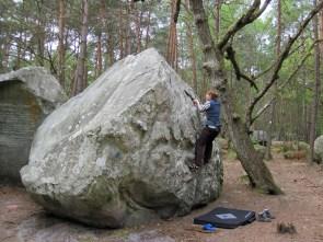 Valerie climbing at Mont Aigu, Fontainebleau.
