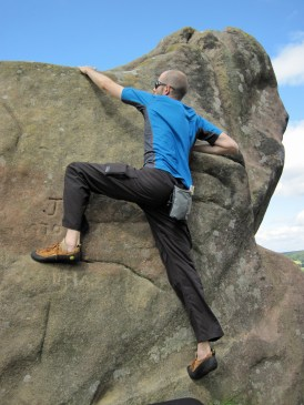 Me climbing JT (V0- 4b) at Robin Hood's Stride.