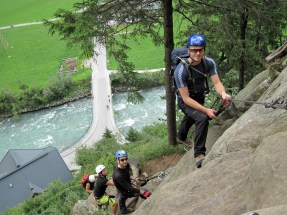 Nick and Ben waiting for some climbers to get past a C graded section on the Klettersteig Huterlaner.