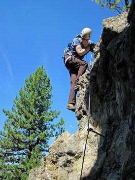 Valerie descending the Knorren.