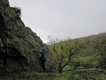 Me climbing on the slab of Badger Rock.