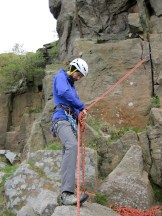 Me practising tying off a belay.