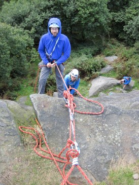 Me abseiling down to check on my climbing partner after having removed myself from the system.
