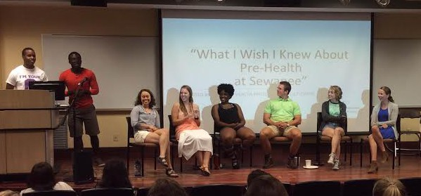 Students participate in teh pre-health panel