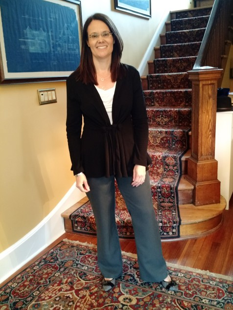 Sewaholic Thurlow trousers, Maria Denmark Day-to-Night Drape Top, and New Look 6330 cardigan