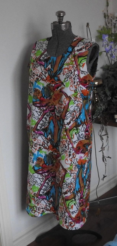 side front of my Jeltje dress on my dress-form