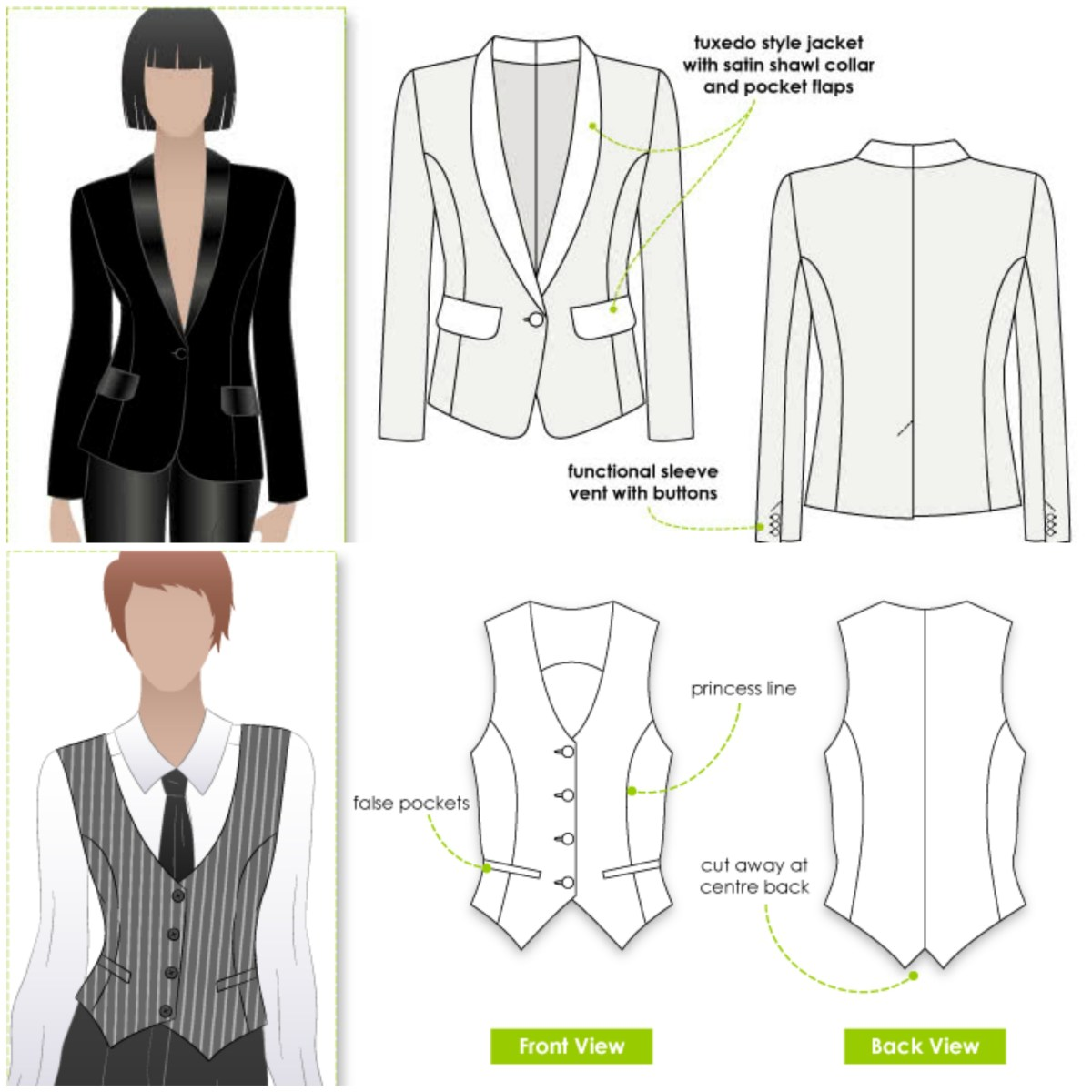 Style Arc tuxedo style jacket and vest or waistcoat