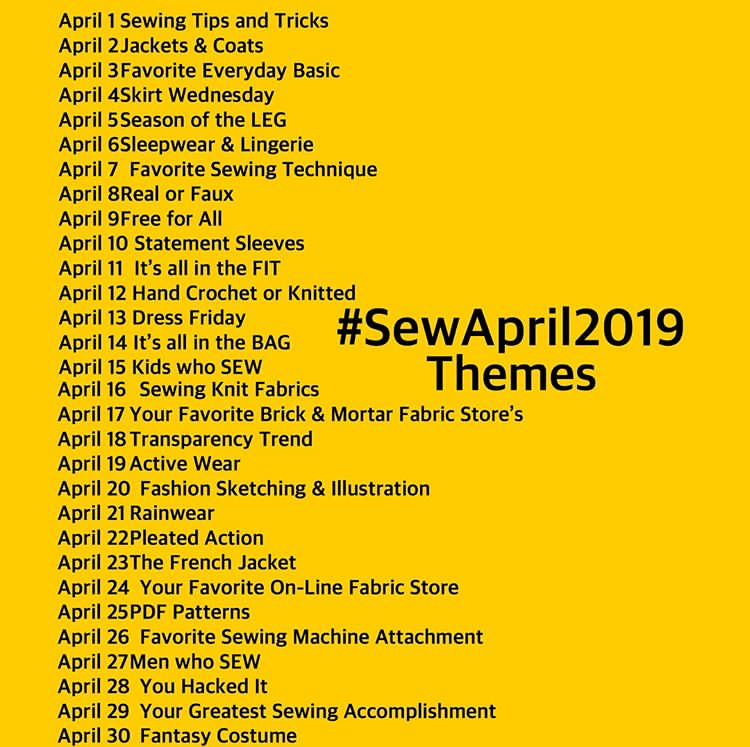 sewapril2019 graphic, with list of daily prompts on a bright yellow background
