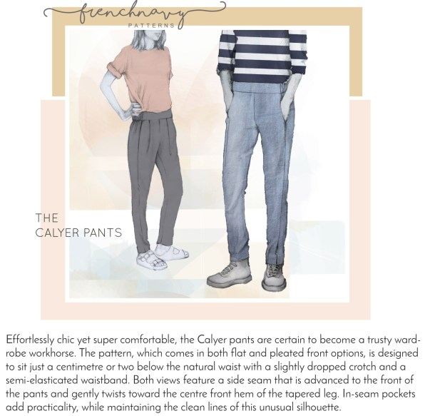 An illustration of the Calyer pants, one view with pleats at the front waist, one with flat front.