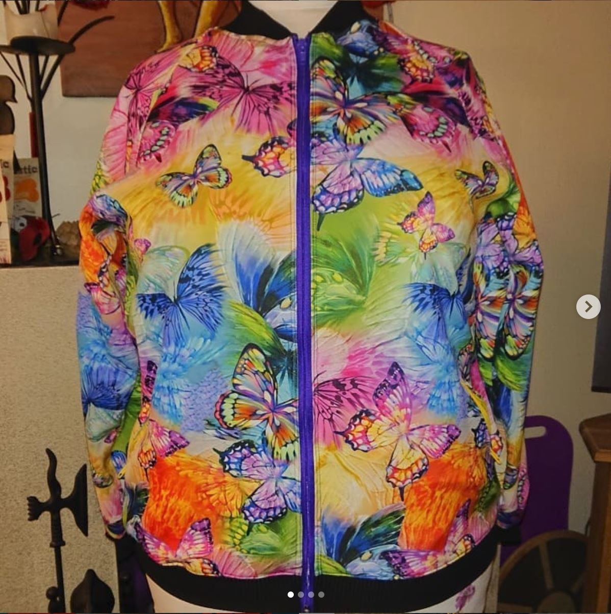 Very colourful jacket with butterflies