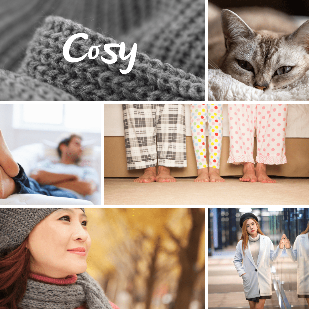 Collage of words associated with the word cosy