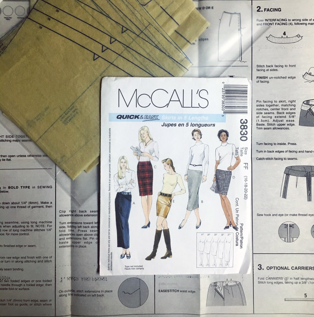 The pattern envelope sits on top of the of the pattern pieces and pattern instructions.