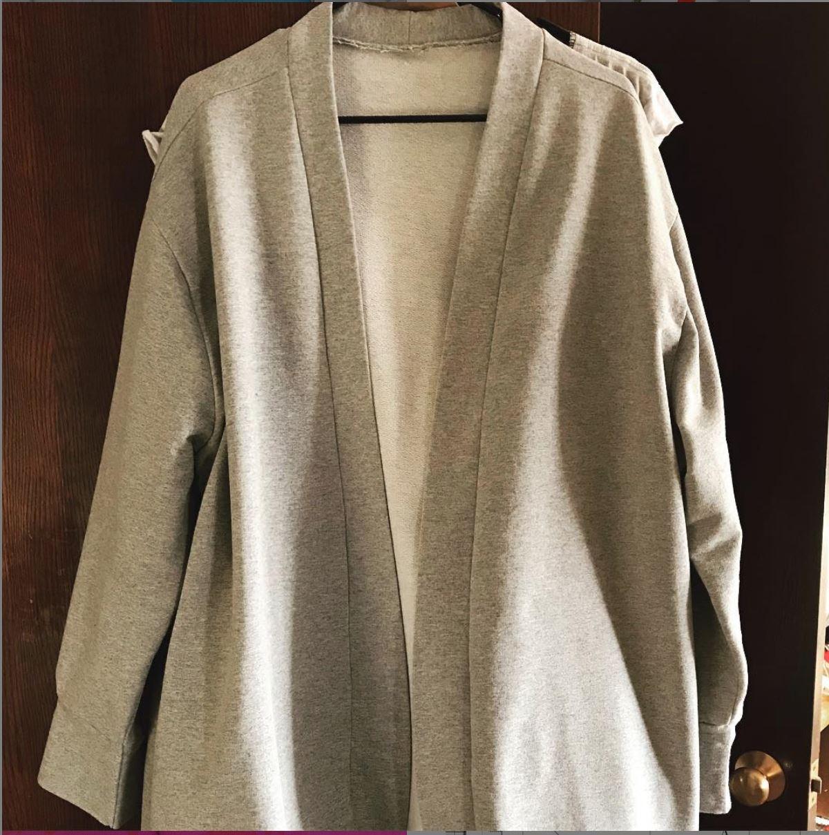 Grey long sleeved cardigan