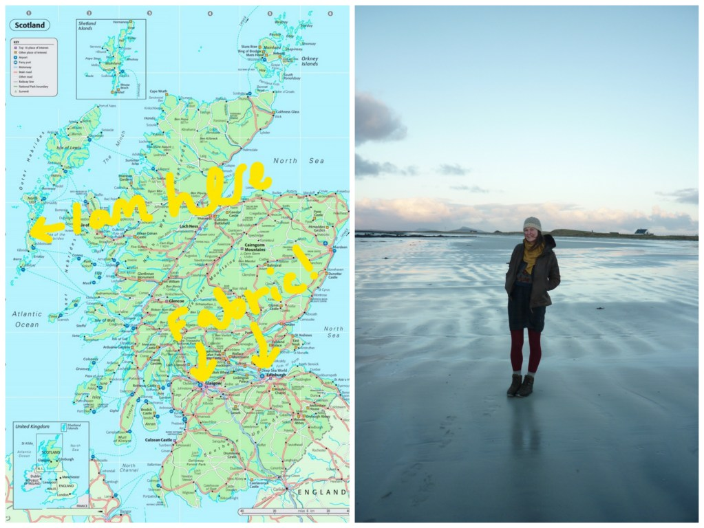 A map of UK on the left with marks showing Heather's location and the nearest fabric store... which is not near at all. On the right is a photo of Heather standing on the beach with the tide out wearing a hat, scarf, and coat