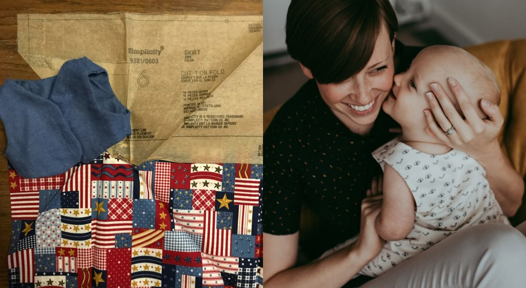 A collage of two images. On the left, a doll vest, laid out with a pattern piece and fabric for making a coordinating doll skirt. On the right, Claire poses with her baby son.