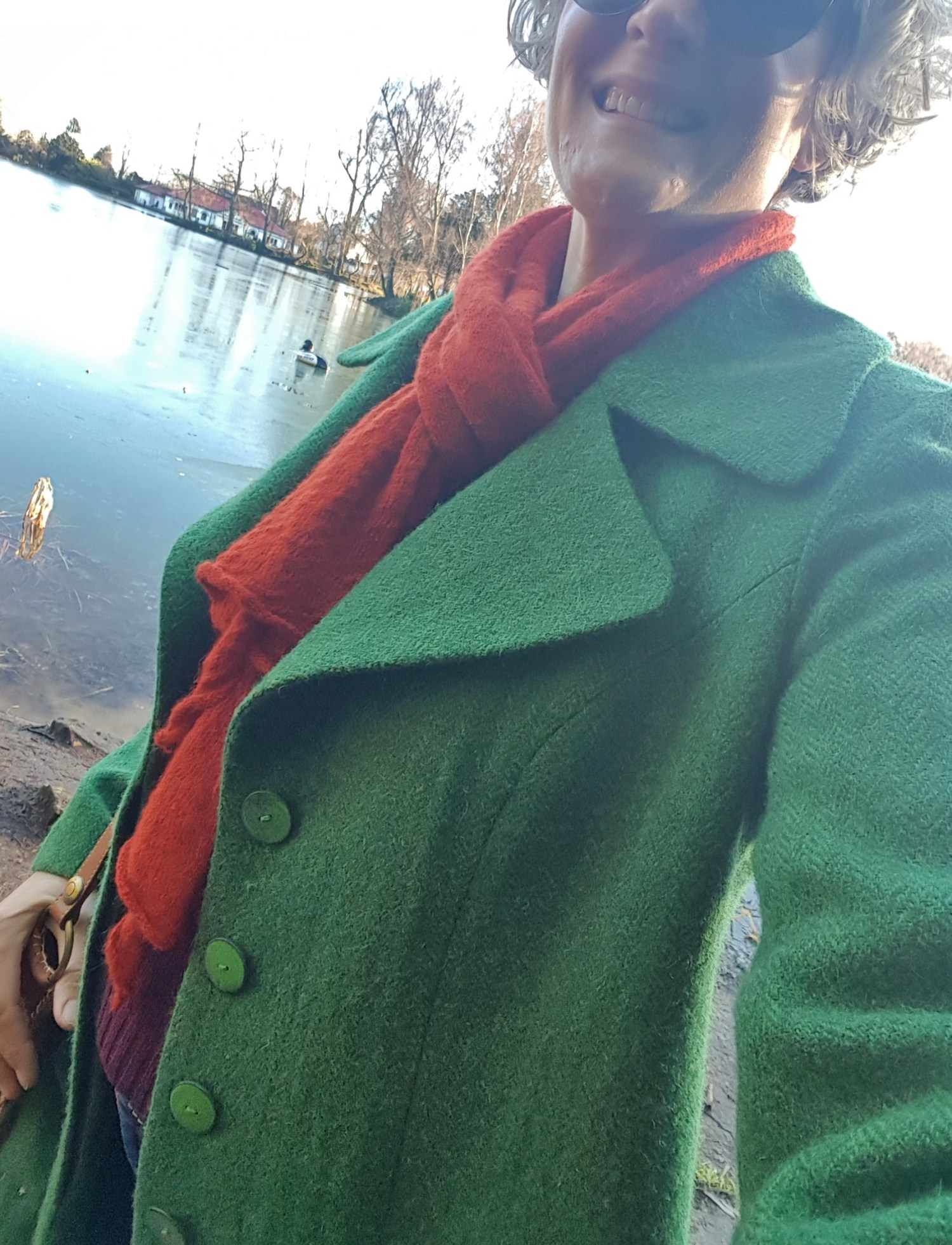 The finished coat on a bright, cold day a couple of months ago